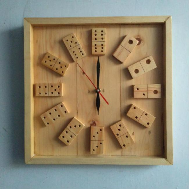 Contoh Kerajinan Tangan Dari Kayu Jati Belanda Jam Domino